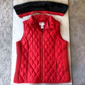Pendleton red down vest with removable fur collar